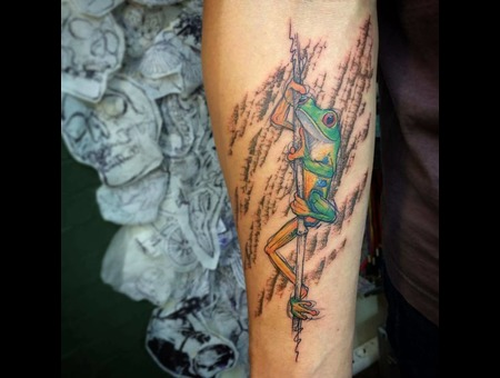 Tattoo  Frog  Art Color Forearm