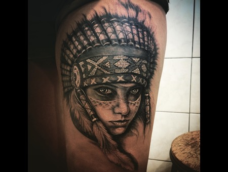 #Rodosinktattoo#Indiangirltattoo#Portraittattoo#Realistictattoo# Black Grey Thigh