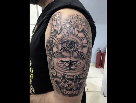#Ledjaqereshnikutattoo#Rodosink#Realistic Tattoo#Watch Tattoo#Memorytattoo# Black Grey Arm