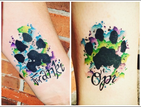 Watercolor Tattoo  Paw Print Tattoo  Abstract Tattoo Color Forearm