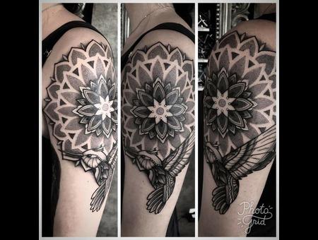 Tattoo  Mandala  Bird  Dotwork  Art Black Grey Arm
