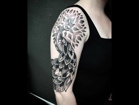 Tattoo Peacock  Dotwork  Art Black Grey Arm