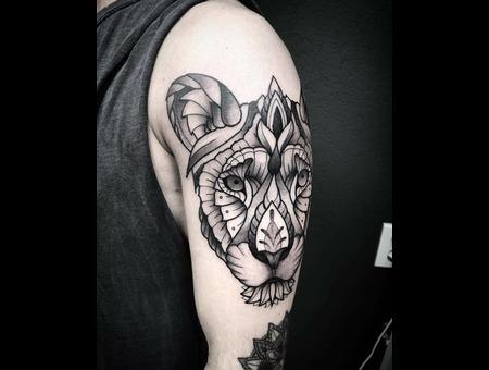 Tattoo  Lion  Ornamental  Art Black Grey Arm