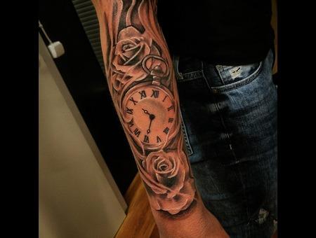 Rose  Time  Tattoo Design. #Inkandarttattoo Ink & Art Tattoo Shop  Black Grey Arm