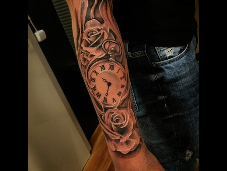 Rose  Time  Tattoo Design. #Inkandarttattoo Black Grey Arm