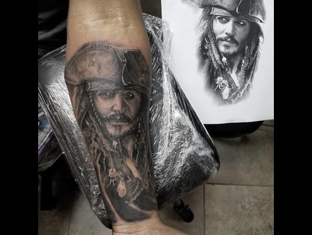 Jack Sparrow  Portrait Black Grey Forearm