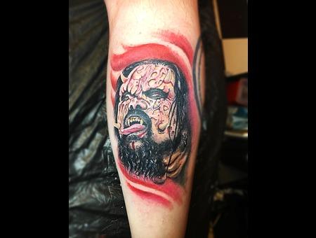 Color Portrait Tattoo Color Lower Leg