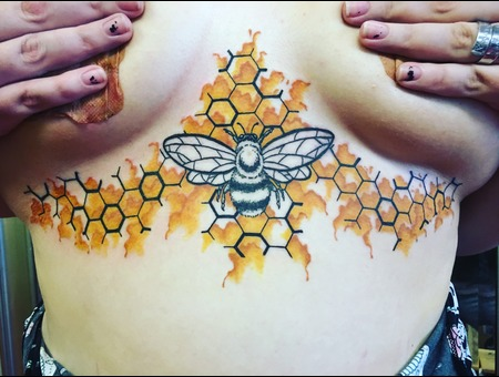 Watercolor Tattoo  Abstract Bee Tattoo  Geometric Tattoo  Color Ribs
