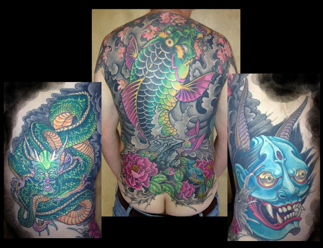 Asian  Japanese  Backpiece  Rib Panel  Koi  Dragon  Hanya Color