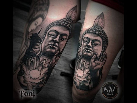 Black And Gray Buddha Black Grey Thigh