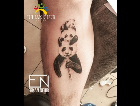 Panda Tattoos Black Grey Lower Leg