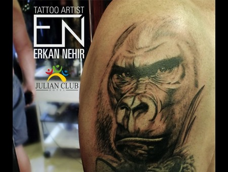 Silverback Gorilla Tattoo Realism Black Grey Shoulder