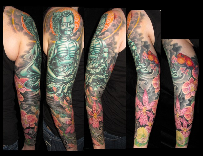 Feminine  Sleeve  Buddha  Frogs  Insects Color