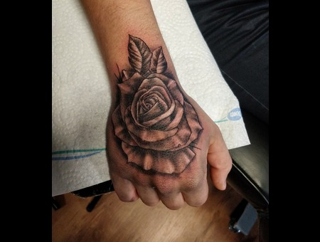Rose Hand Tattoo. #Inkandarttattoo Black Grey Arm