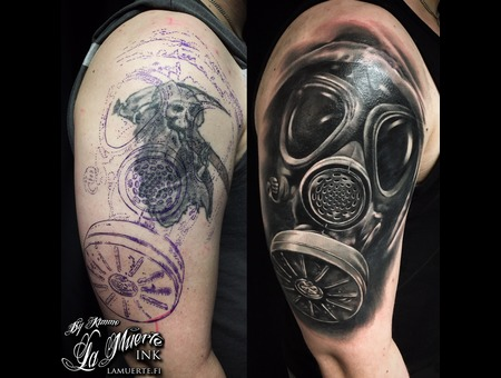 Coverup  Gasmask  Realistic  Cover Up  Blackandwhite Black Grey Shoulder