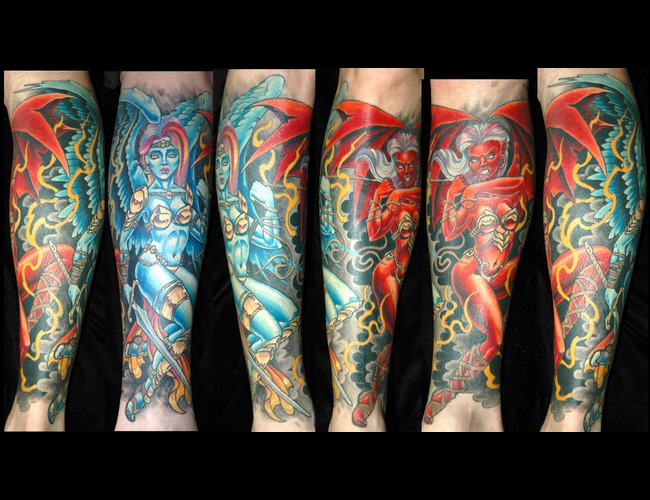 1/2 Sleeve  Angel  Devil Color
