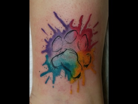 Watercolor  Paw Print  Ankle Tattoo Color Lower Leg
