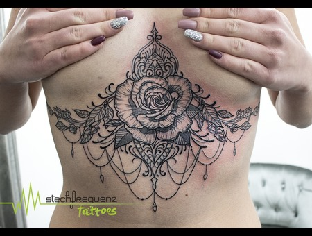 Underboob  Rose  Flower  Mandala Black Grey Chest