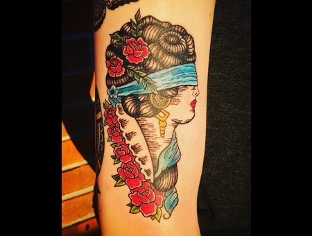 Illustrative Traditional Portrait  Linework Tattoo  Neotraditional  Color Arm