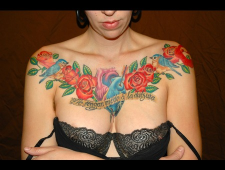 Chest Plate  Feminine  Roses  Birds  Heart Color