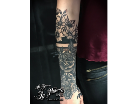 Flower Tattoo  Blackwork Tattoo Black Grey Arm