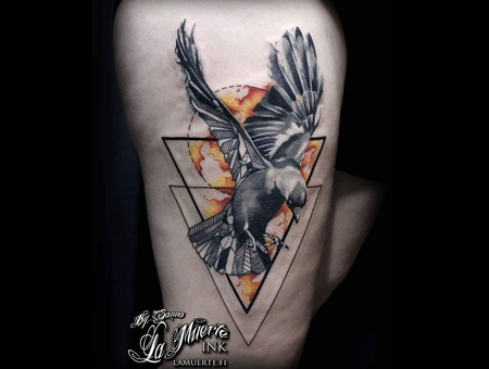 Bird Tattoo Color Thigh