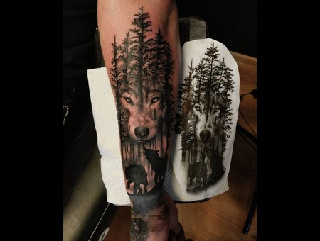 Wolf  Forest Tattoo. #Inkandarttattoo Black Grey