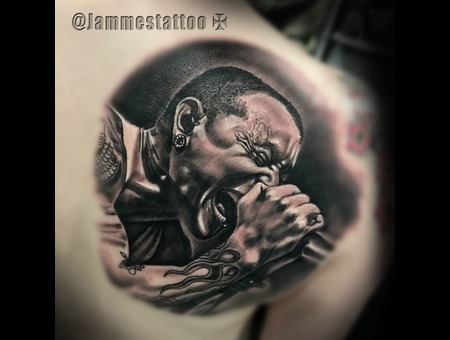 Chester Bennington Tattoo  Portrait Tatttoo Realism Black Grey Shoulder