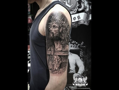 Jesus  Cross  Realistic  Portrait  Black Grey Arm