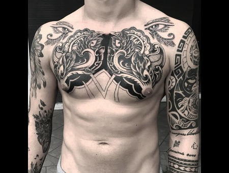 #Tattoo #Dövme #Ink #Art #Artwork Black Grey Chest