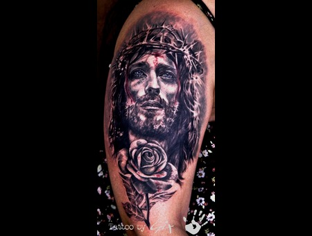 Jesus  Christ  Cristo  Rose  Realistic Black Grey Arm
