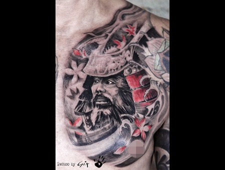 Samurai  Warrior  Japanese  Realistic   Black Grey Chest