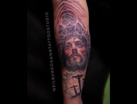 Jesus  Jesus Of Nazareth  Religious Tattoo Color Forearm