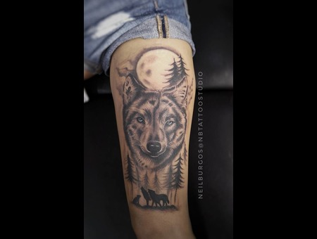 Wolf  Black And Gray Wolf Black Grey Thigh