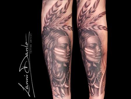 Portrait  Native American  Indian  Girl  Sexy  Tattooed Girl Black Grey Arm