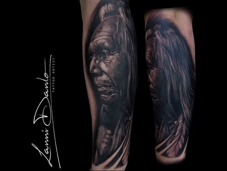 Portrait  Realistic  Indian  Native American  Black Grey Arm