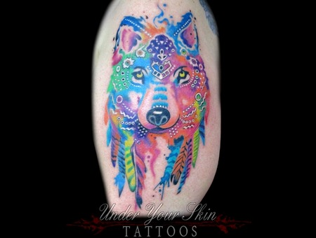 Watercolor  Wolf  Tattoo Color Arm