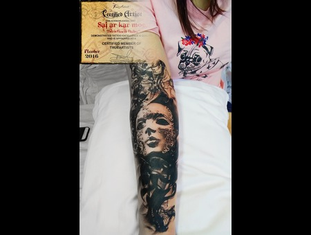 Realistic  Black And Grey  Girls  Mask  Morden Art  Water Colour  Black Grey Forearm