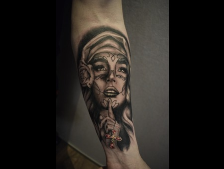 Woman Black Grey Forearm