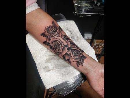 Rose Tattoo. #Inkandarttattoo Ink & Art Tattoo Shop Black Grey Arm