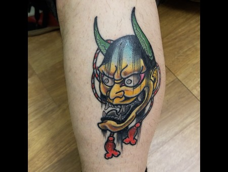 Hannya Japanese  Color Lower Leg
