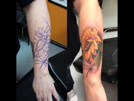 Freehand Sunflower And Dragonfly Color Forearm