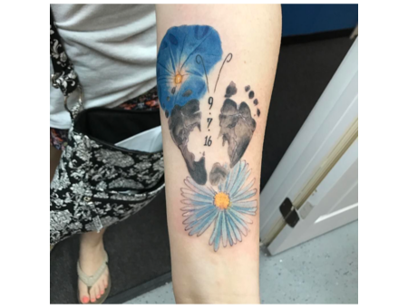 Birth Certificate Foot Prints And Flowers Color Forearm