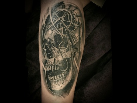 Skull  Clock Black Grey Lower Leg