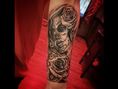 Day Of The Dead  Rose's Black Grey Forearm