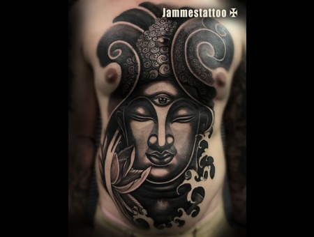 Buddah Tattoo Black Grey Chest
