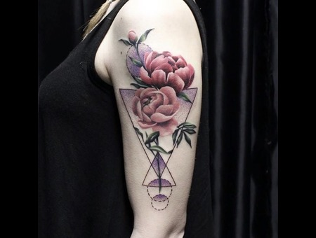 Peony Tattoo Color Shoulder