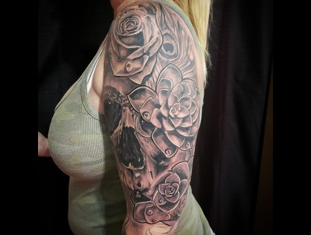 Skull  Rose  Flower Black Grey Arm