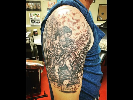 St. Michael Tattoo  Illustrative Realism Tattoo  Black And Grey Tattoo Black Grey Arm