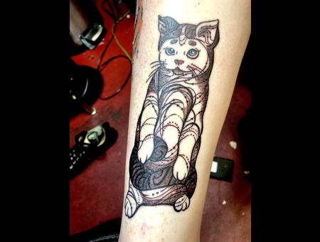 Cat Tattoo  Illustrative Tattoo  Dotwork  Abstract Tattoo  Black Grey Lower Leg